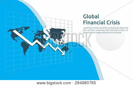 Business Finance Crisis Concept. Money Fall Down With Arrow Decrease Symbol. Economy Stretching Risi