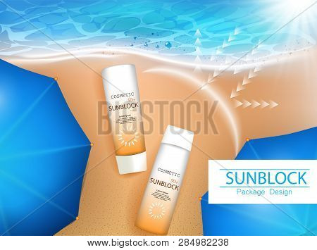 Vector Illustration. 3d Bottles With Sun Protection Cosmetic Products On Tropic Beach. Sunblock Crea
