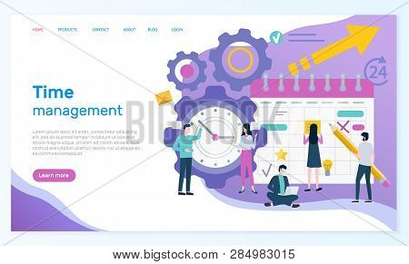 Time Management Online Web Page With Organizer Vector. Men And Women Compose Business Schedule, Wall