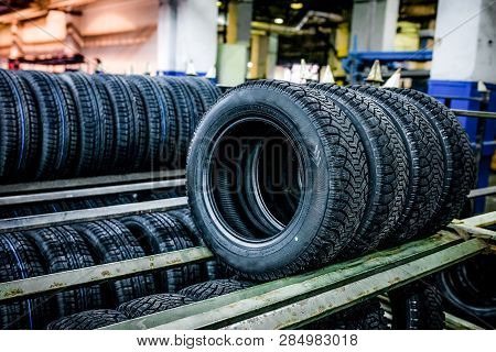 Group Of New Tires Ready For Transporting At Factory