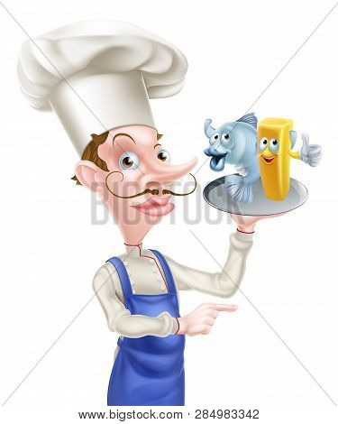 Seafood Cartoon Chef Holding A Platter Or Plate With Fish And Chips On It And Pointing
