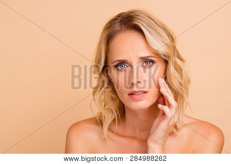 Salon Skin Problem Therapy Treatment Concept. Close-up Portrait Of Attractive Wavy-haired Nude Lady