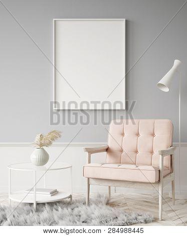 Mock Up Poster Frame In Home Interior Background, 3d Illustration