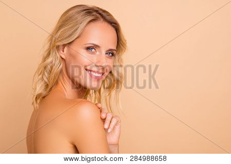 Salon Therapy Procedure. Profile Side View Portrait Of Attractive Cheerful Wavy-haired Nude Lady Wit