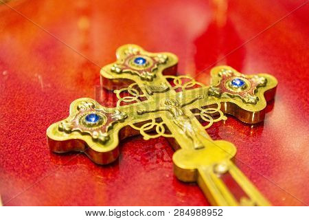 Church Christian Ritual Accessories. The Cross Of Jesus Christ. Crumb, Cross, And Bible For The Need