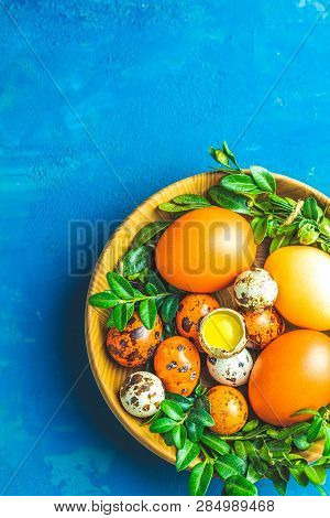 Easter Greeting Card With Colored Yellow Orange Eggs
