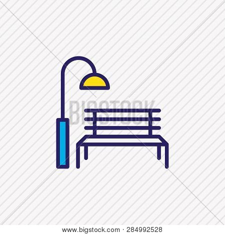 Vector Illustration Of Park Icon Colored Line. Beautiful Infrastructure Element Also Can Be Used As