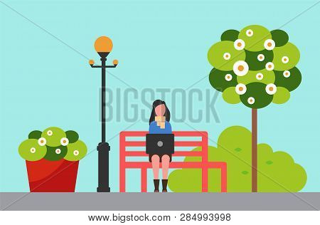 City Park, Woman On Bench Near Streetlight And Flowerbed Or Tree Vector. Girl Working Outdoor With P