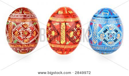 Three Russian Tradition Easter Eggs Abreast Over White