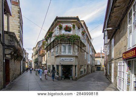 Pontevedra, Galicia, Spain; September 2018: Streets Of The Historic Center Of The City Of Pontevedra