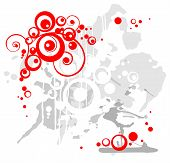 Red decorative circles on a grunge gray-white background. poster