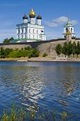 Trinity Cathedral in the Pskov Kremlin on a sunny June afternoon. Russia poster