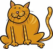 cartoon illustration of funny yellow sitting cat poster