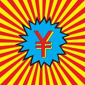 Yuan (renminbi, rmb, yen) icon in the pop art explosion (burst background). Abstract red and yellow rays. Money prize symbol. Vector illustration. poster