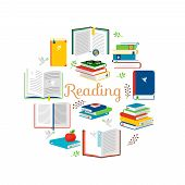 Reading concept with isometric style books vector icons. Illustration of encyclopedia and literature for read poster