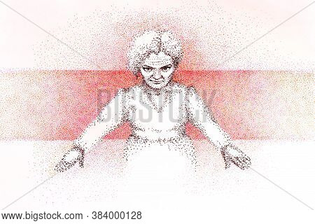 Woman In White On A White-red-white Background In Dot-work Technique