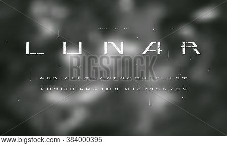 Cyrillic Stencil-plate Sans Serif Futuristic Font On Blurred Background. Letters And Numbers With Ro