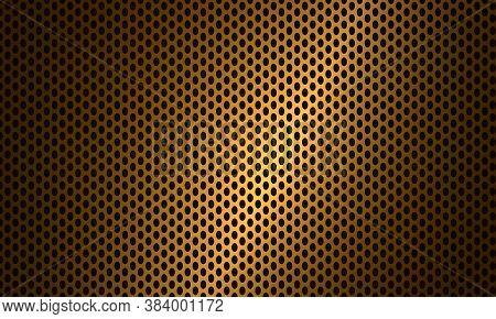 Gold Carbon Fiber Texture. Golden Metallic Steel Background. Black Ellipse Textured Background. Geom