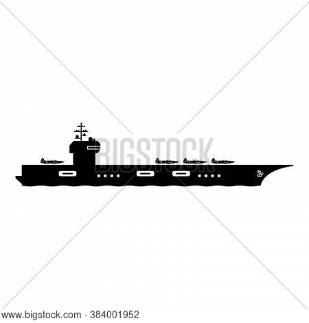 Aircraft Carrier Icon Symbol. Clip Art Pictogram Depicting Navy Aircraft Carrier Military War Naval