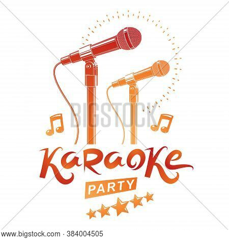 Karaoke Party Promotion Poster Design Composed Using Musical Notes And 5 Pentagonal Stars. Rap Battl