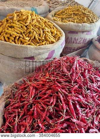 Dhaka, Bangladesh - 06 July 2020: Spice Market. Colorful Spices And Herbs Are Displayed In A Shop Of