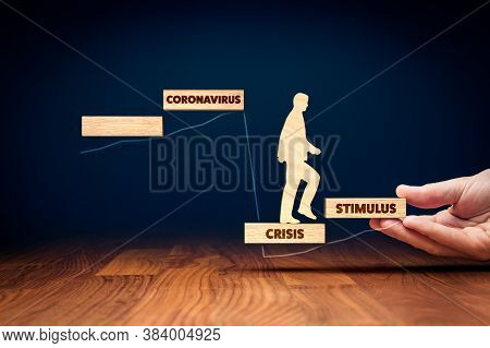 Economic Stimulus In Post Covid-19 Era Helps Company To Survive And Growth. Figurine On Wooden Stair