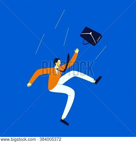 A Cartoon Man In An Orange Sweater In Light Trousers Falls Into The Abyss. A Young Man In A Tie Flie