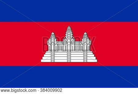 Flag Of Cambodia. Vector. Accurate Dimensions, Element Proportions And Colors