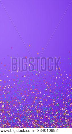 Festive Unusual Confetti. Celebration Stars. Joyous Confetti On Violet Background. Great Festive Ove