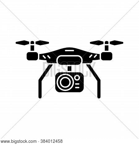 Drone Camera Black Glyph Icon. Mobile Helicopter To Shoot Panoramic Frame. Flying Gadget For Hobby F