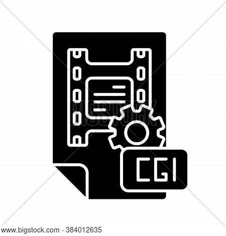 Cgi Black Glyph Icon. Computer Generated Imagery For Movie Making. Special Effects For Film Producti