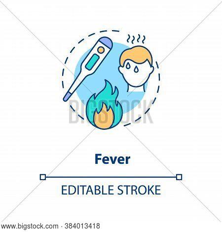 Fever Concept Icon. Infectious Disease, Flu Symptom. Vaccination Contraindications Idea Thin Line Il