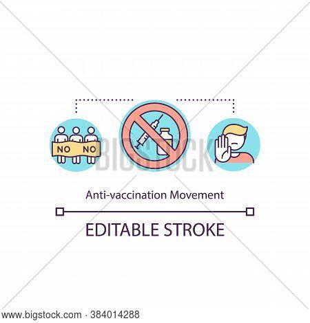 Anti Vaccination Movement Concept Icon. Vaccine Hesitancy, Anti Vax Idea Thin Line Illustration. Peo