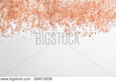 Pink Himalayan Salt Isolated On White, Top View