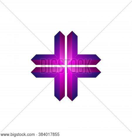 Abstract Cross Logo Geometric Shape Futuristic Illustration Liquid Element 3d Geometry Technology Te