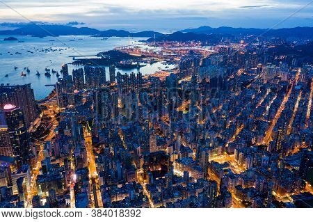 Kowloon, Hong Kong 26 July 2020: Top view of Hong Kong city night