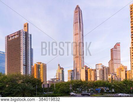 SHENZHEN, CHINA - JULY 20, 2020: ShenZhen downtown, Futian district. Shenzhen is a major city in Guangdong Province, China.