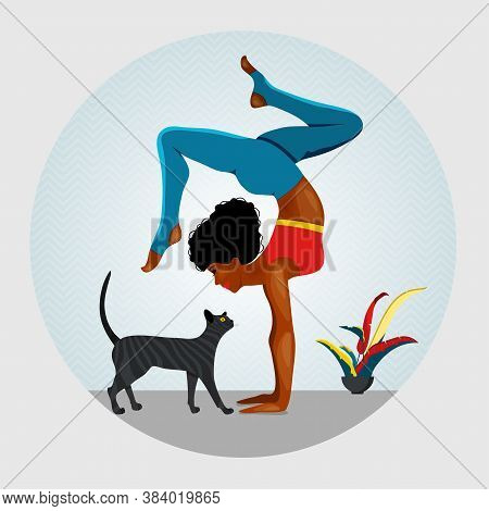 African American Women Standing In Ad-ho Mukha Vrksasana Exercise. Next To Woman Walking Cat. Vector