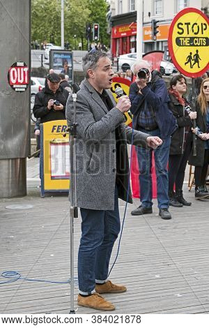 Bristol, Uk - April 29, 2017: Jonathan Bartley, Co-leader Of The Green Party, Speaking At A Demonstr