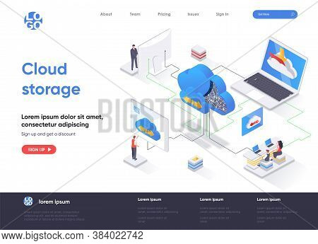 Cloud Storage Isometric Landing Page. Internet Hosting Provider, Data Storage Service Isometry Conce