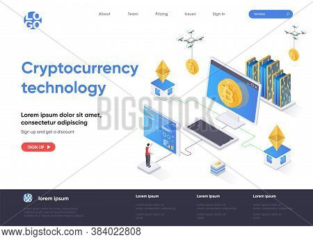 Cryptocurrency Technology Isometric Landing Page. Cryptography And Blockchain Fintech Isometry Conce
