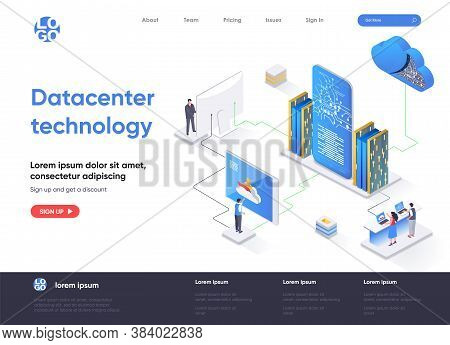 Data Center Technology Isometric Landing Page. Internet Hosting Service Isometry Concept. Data Cente