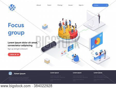 Focus Group Isometric Landing Page. Market Research Method Isometry Concept. Collective Discussion A