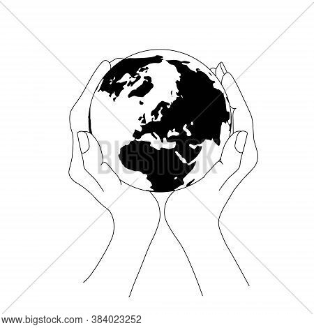 Earth Planet In Two Hands Top View Hand Drawn Sketch Monochrome Art Design Elements Stock Vector Ill