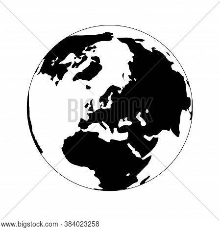 Earth Globe Monochrome Icon. Eurasia And Africa Black Silhouette On White
