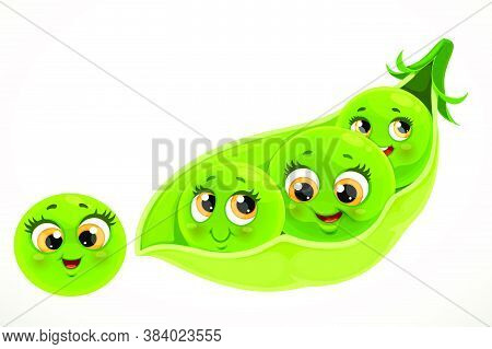 Cute Little Cartoon Emoji Green Peas In A Pod Isolated On White Background