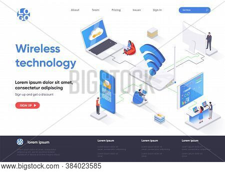 Wireless Technology Isometric Landing Page. Wifi Network Communication, Internet Sharing Isometry Co