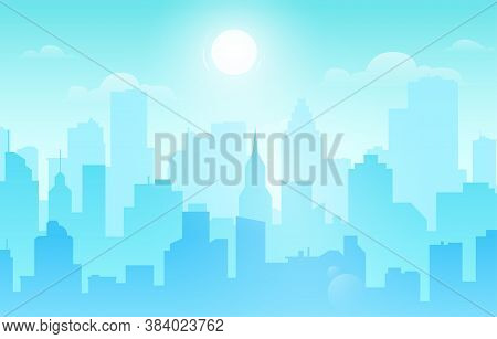 Daytime Cityscape. Urban Architecture, Skyscrapers Buildings And Town Landscape With Sun On Cloudy S