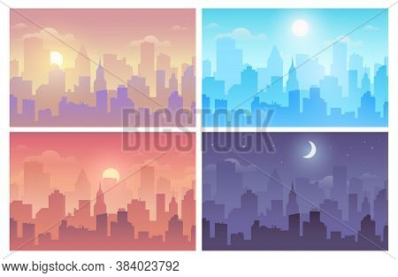 Daytime Cityscape Morning, Day And Night City Skyline Landscape, Town Buildings In Different Time An