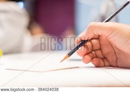 Document Report And Business Note In Meeting Room Concept: Businessman Manager Hands Writing For Rea